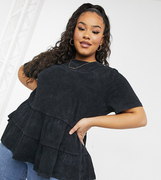 ASOS DESIGN Curve tiered smock top in washed charcoal
