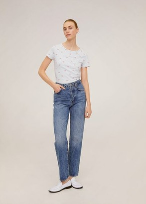 MANGO Printed cotton-blend T-shirt