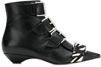 No.21 Zebra Buckle Boots