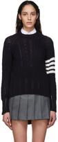 Thom Browne Navy Aran Cable 4-Bar Crewneck Sweater