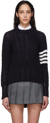 Thom Browne Navy Aran Cable 4-Bar Crewneck Sweater