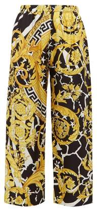 Versace Baroque Print Silk Twill Trousers - Womens - Black Gold
