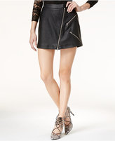 Material Girl Juniors' Zipper-Trim Faux-Leather Mini Skirt, Only at Macy's