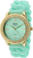JCPenney TKO ORLOGI Womens Crystal-Accent Chain-Link Green Silicone Strap Stretch Watch
