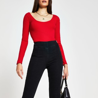 River Island Womens Red long sleeve scoop neck top