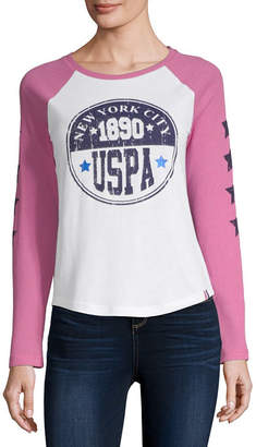 U.S. Polo Assn. Womens Round Neck Long Sleeve T-Shirt Juniors