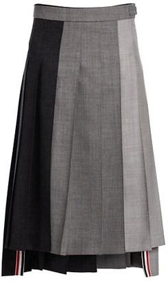 Thom Browne Drop-Back Pleated Wool Skirt