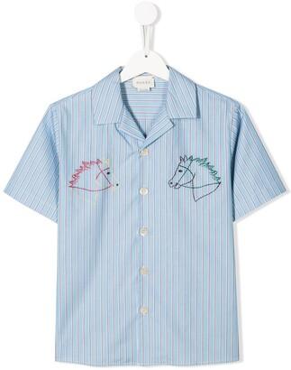 Gucci Kids Horse Motif Embroidered Shirt