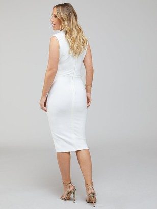 Premium Stretch Bandage Midi Dress - Ivory