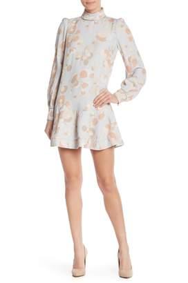 Marc Jacobs Mock Neck Bishop Sleeve Mini Dress