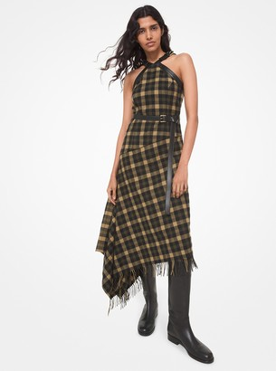Michael Kors Collection Leather Trim Check Wool Fringed Blanket Dress