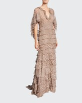 Thumbnail for your product : J. Mendel Leopard Print Ruffle-Tiered Chiffon Gown