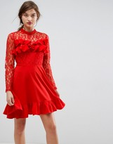 Asos Design Lace & Ruffle Mini Dress