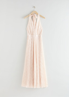 And other stories Pleated Halterneck Maxi Dress