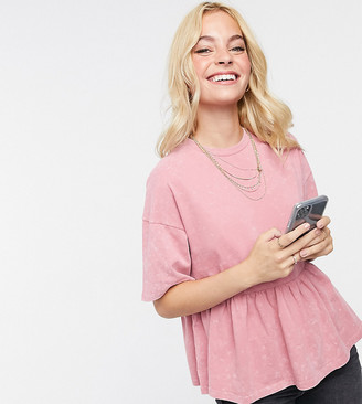 ASOS DESIGN Petite smock in acid wash in dusky pink