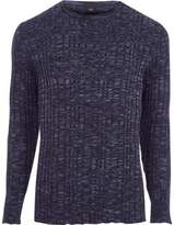 River Island Mens Navy ribbed skinny fit sweater