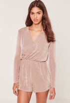 Missguided Slinky Wrap Playsuit Pink