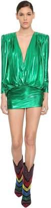 ATTICO The Draped Stretch Lame Jersey Mini Dress