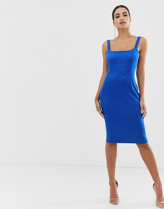 Vesper satin square neck bodycon dress in cobalt-Blue