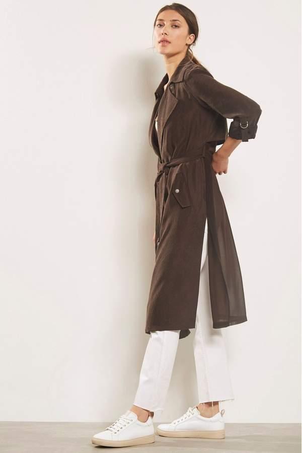 b9181fff0 Womens Chocolate Soft Longline Trench - Brown