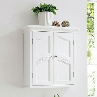 Overstock French Classic Style 2 Door Bathroom Wall Cabinet in White