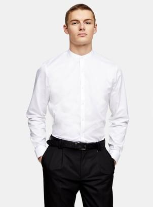 Topman White Grandad Collar Slim Shirt