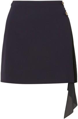 Givenchy Paneled Wool And Silk Crepe De Chine Mini Skirt