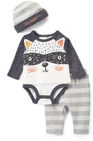 Baby Essentials White & Black Raccoon Bodysuit Set - Infant