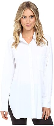 Lysse Schiffer Stretch Microfiber Button Down (True Navy) Women's Long Sleeve Button Up