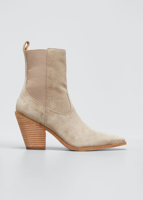 Sigerson Morrison Faith Leather Square-Toe Western Booties