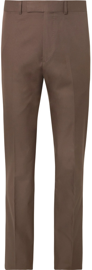 Kingsman Brown Slim-Fit Cotton-Twill Suit Trousers