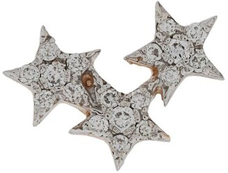 Kismet By Milka 14kt rose gold Struck Triple Star diamond stud