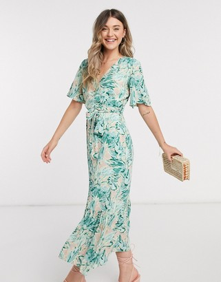 Y.A.S wrap maxi dress with flutter sleeve in mixed floral