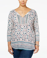 Lucky Brand Trendy Plus Size Floral-Print Peasant Top