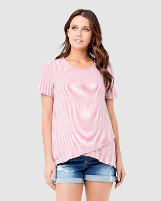 Ripe Maternity Women's Red Short Sleeve Tops - Maison Nursing Tee - Size One Size, XS at The Iconic