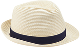 John Lewis Packable Braid Trilby Hat, Beige