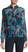 MSGM Women's Silk Abstract Print Shirt