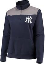 Majestic Women's Navy New York Yankees Plus Size Sequin Wordmark Quarter-Zip Pullover Jacket