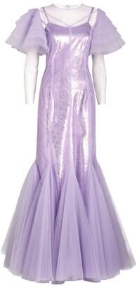 Huishan Zhang Sequinned Ruffle Aurora Gown