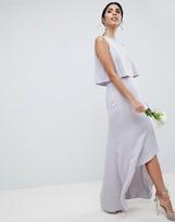 Asos Design DESIGN Pearl Trim Crop Top Maxi Dress