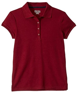 Nautica Short Sleeve Polo with Picot Stitch Collar (Big Kids) (Burgundy) Girl's Short Sleeve Pullover