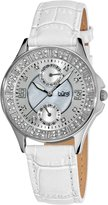 Burgi Women's BU44WT Round Diamond Classic Stainless Steel GMT Date Watch