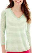 JCPenney STYLUS Stylus 3/4-Sleeve V-Neck Striped Sweater