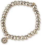 Sydney Evan 8mm Silver Pyrite Beaded Bracelet with Diamond Evil Eye Charm