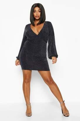 boohoo Plus Glitter Shimmer Blouson Sleeve Mini Dress
