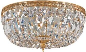 "House of Hampton Milan 3 - Light 12"" Unique/Statement Bowl LED Flush Mount Finish / Crystal Grade: Olde Brass/Majestic Wood Polished"
