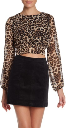 Wild Honey Leopard Back Tie Crop Top