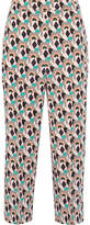 Prada Cropped Printed Silk Crepe De Chine Straight-leg Pants - Mushroom