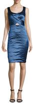 Nicole Miller Metallic Cut Out Bodice Sheath Dress