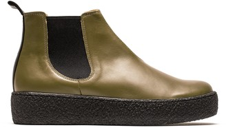 Tracey Neuls - George Platform   Olive Leather Chelsea Boot - 36   olive green   leather   Rubber - Olive green